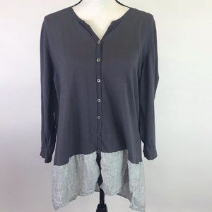 Poetry Contrast Knit/Linen Tunic Top 18